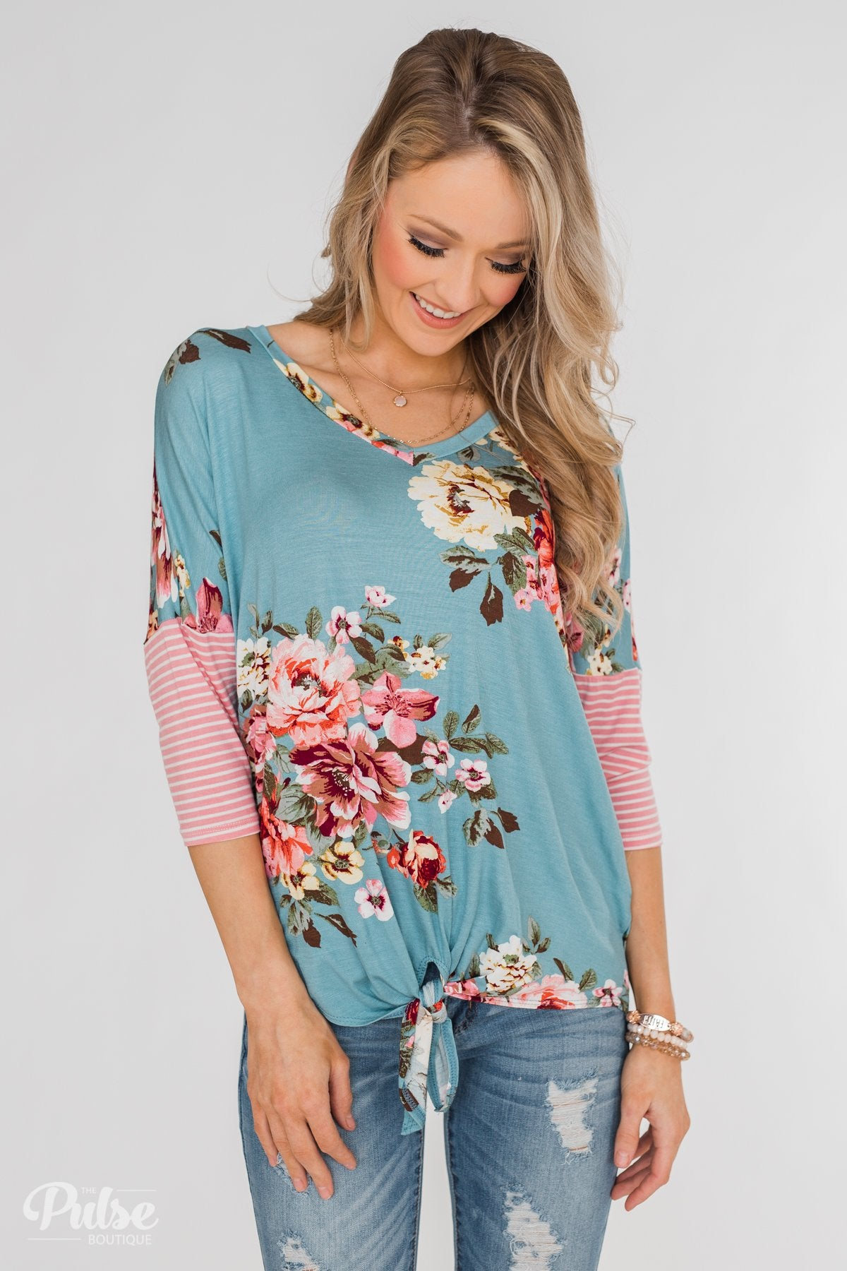 3/4 Sleeve Floral & Striped Tie Top- Antique Blue