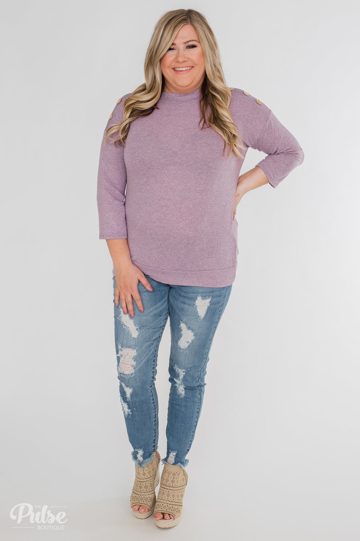 Cute As A Button 3/4 Sleeve Top- Lavender