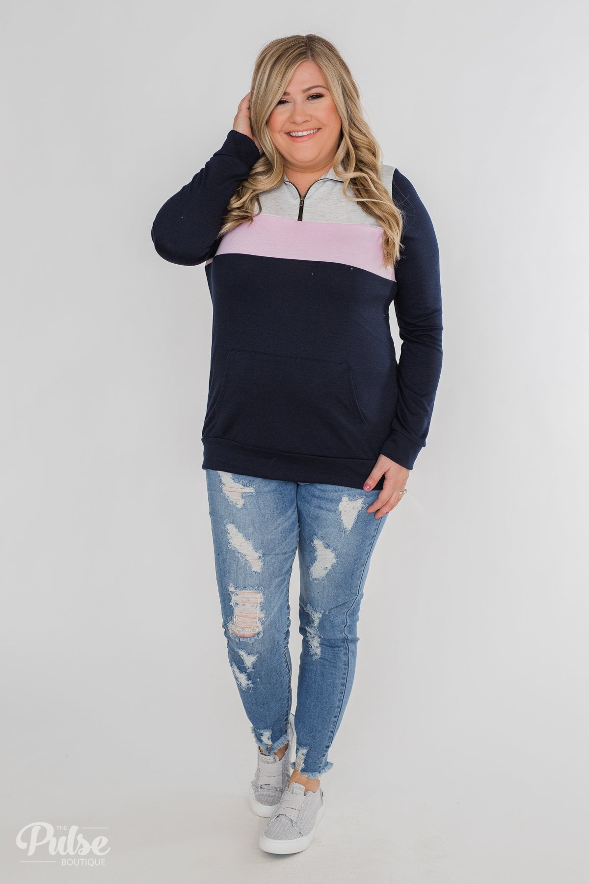 On the Go Quarter Zip Pullover- Navy & Soft Lilac