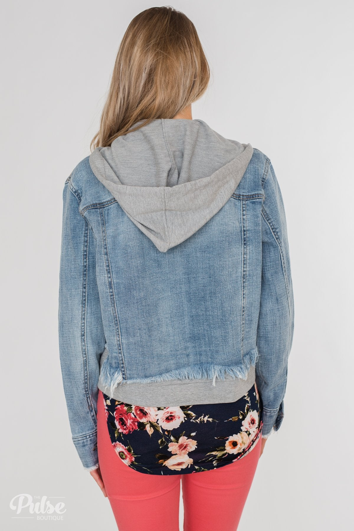 C'est Toi Distressed Hooded Denim Jacket- Medium Wash