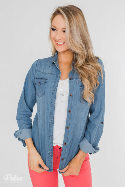 Chambray Button-Up Top- Medium Wash