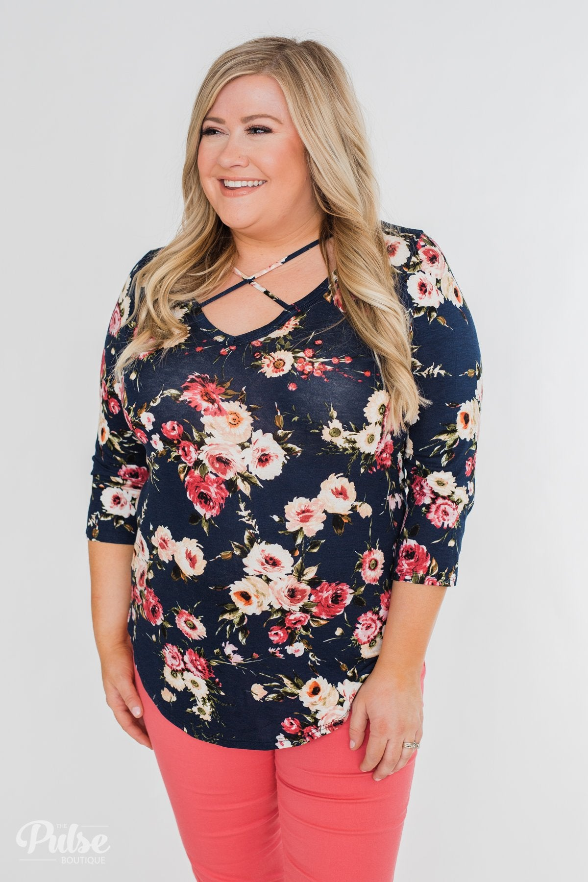 Excellent Selection Floral Criss Cross Top- Navy