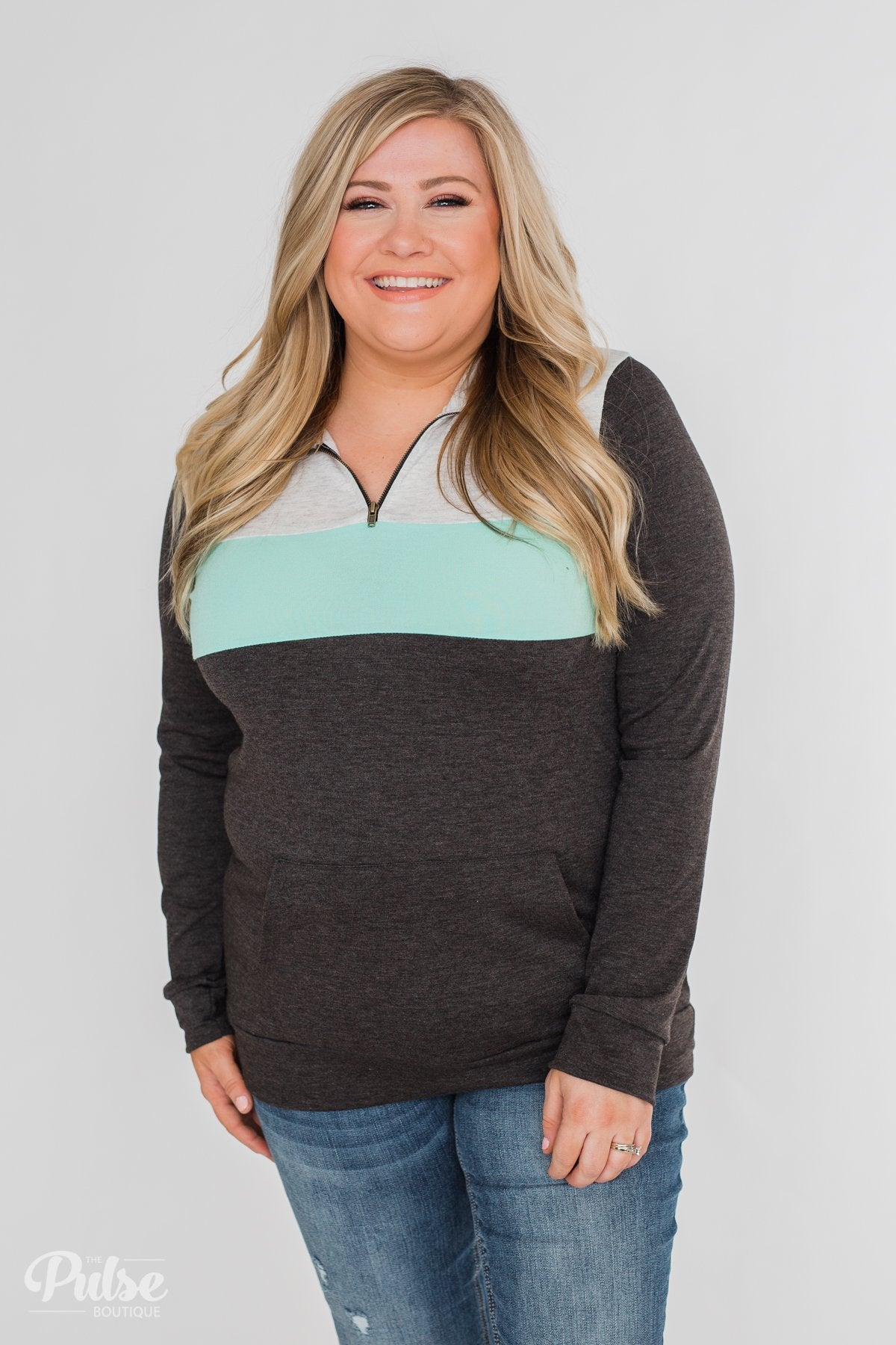 On the Go Quarter Zip Pullover- Mint & Charcoal