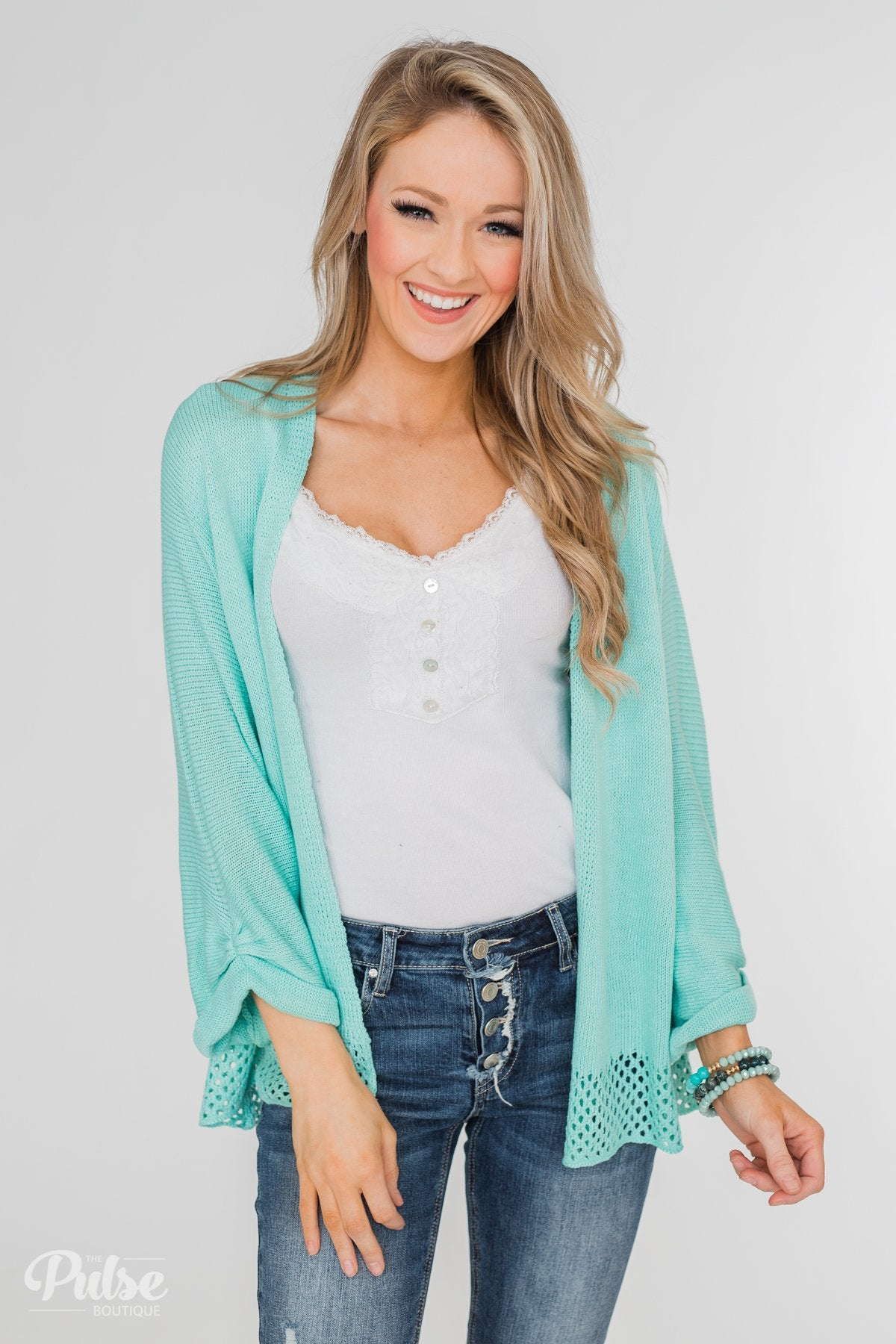 Lovely Days Long Sleeve Knitted Cardigan- Mint Blue