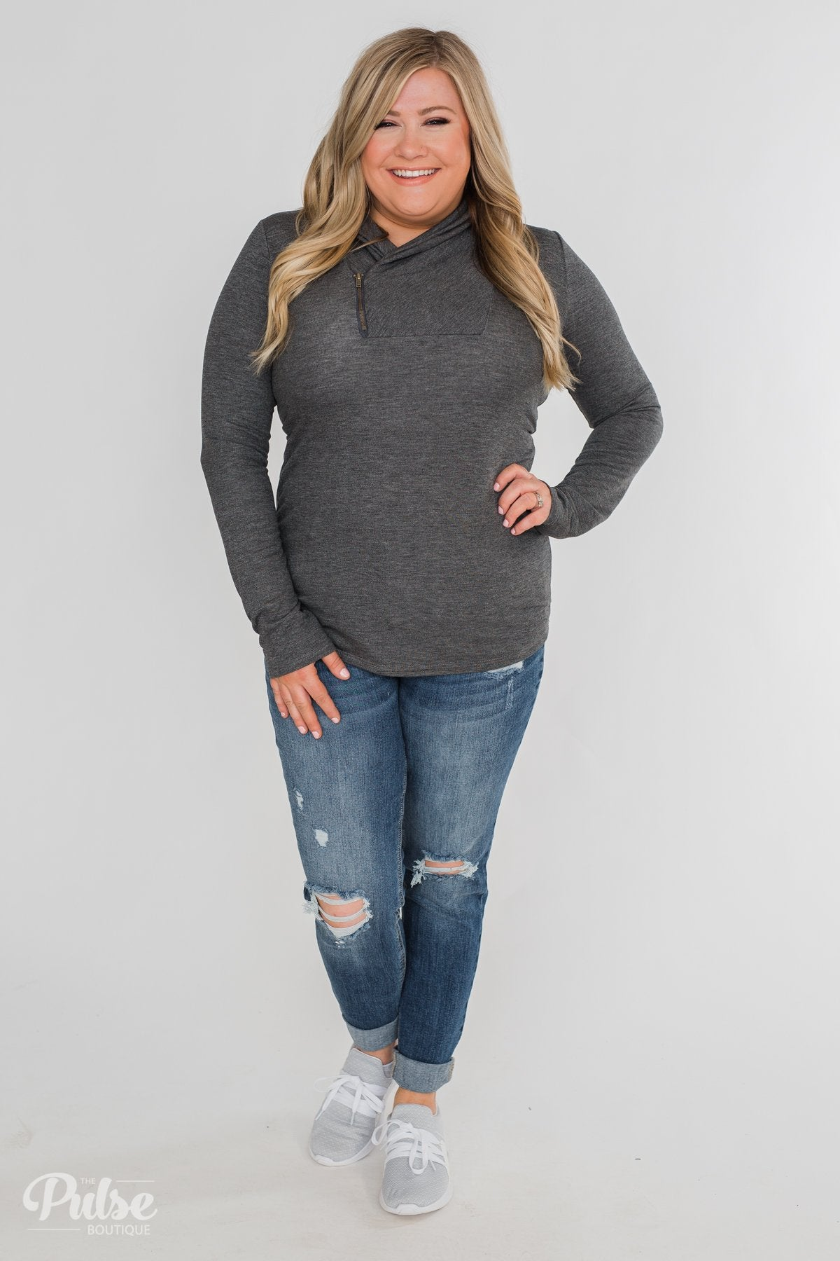 Give Me Time Zipper Pullover Top- Charcoal