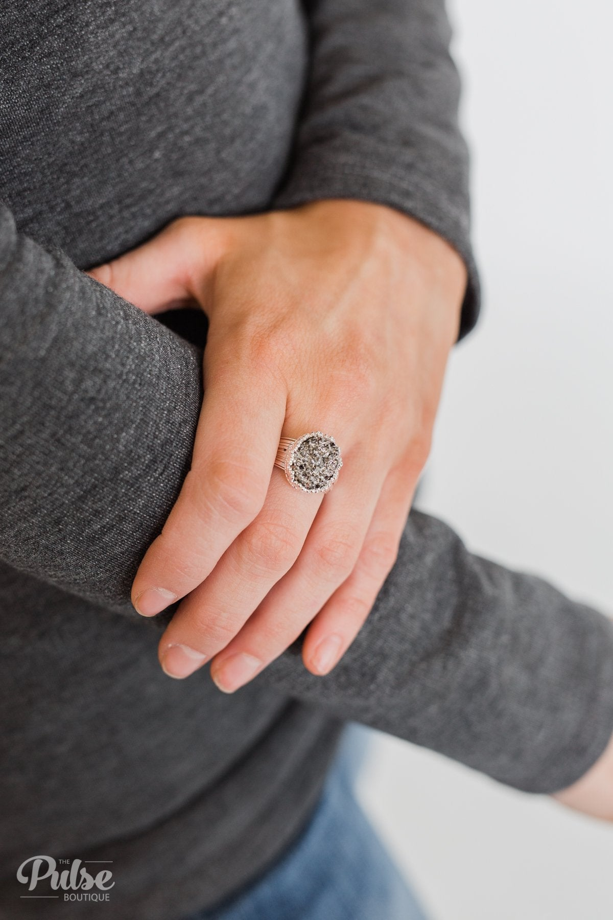Adjustable Crystal Stone Ring- Charcoal