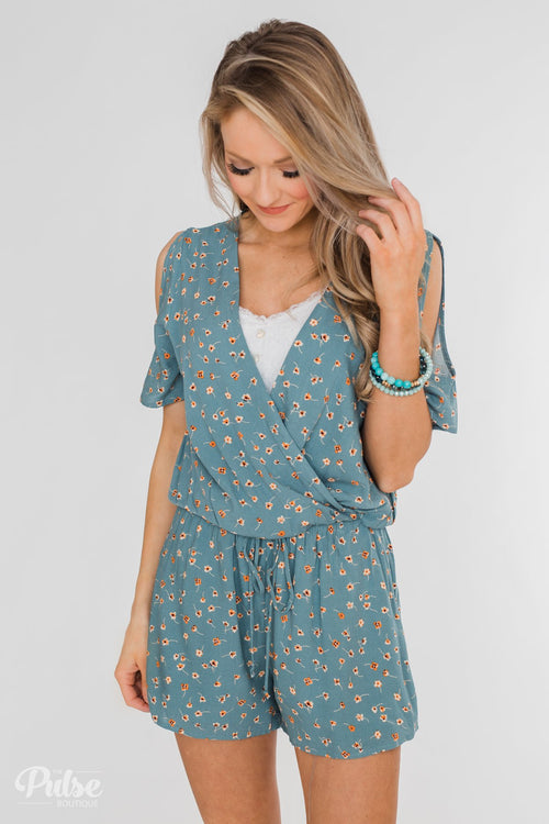 Sound of Spring Floral Cold Shoulder Romper- Antique Blue