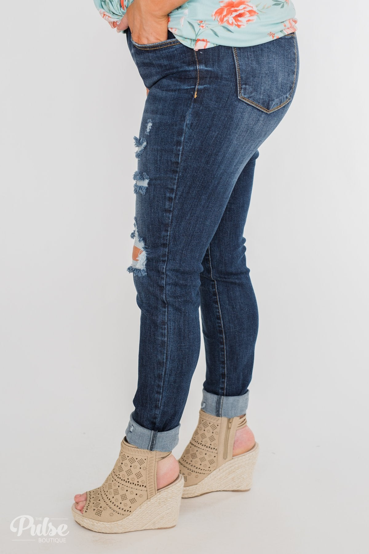 C'est Toi Distressed Ankle Cuff Skinnies- Polly Wash