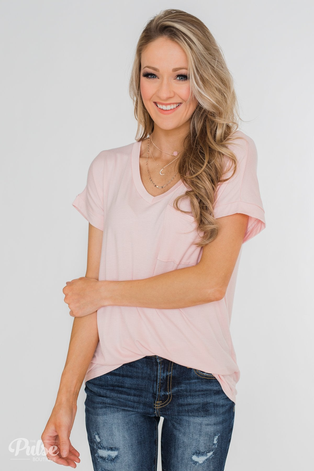 Solid V-Neck Pocket Top- Blush