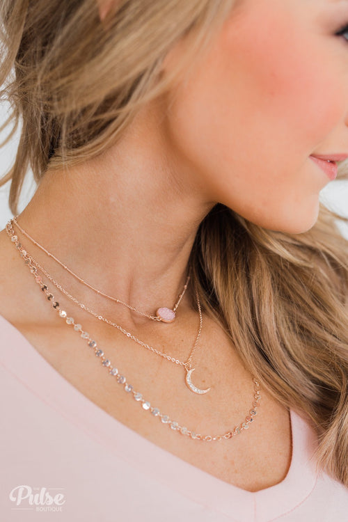 3 Tier Rose Gold Stone & Crescent Necklace- Pink