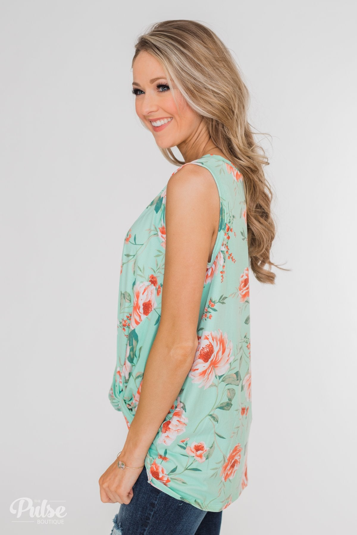 Beauty In Everything Floral Knot Top- Mint