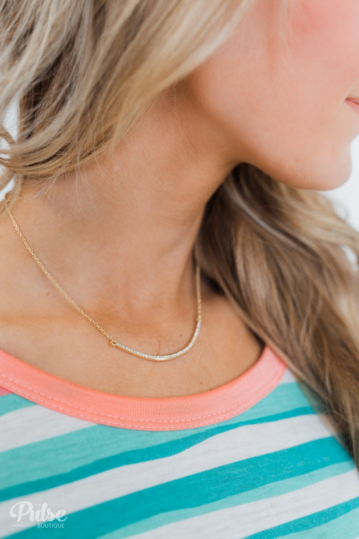 Diamond Studded Curved Bar Necklace- Gold