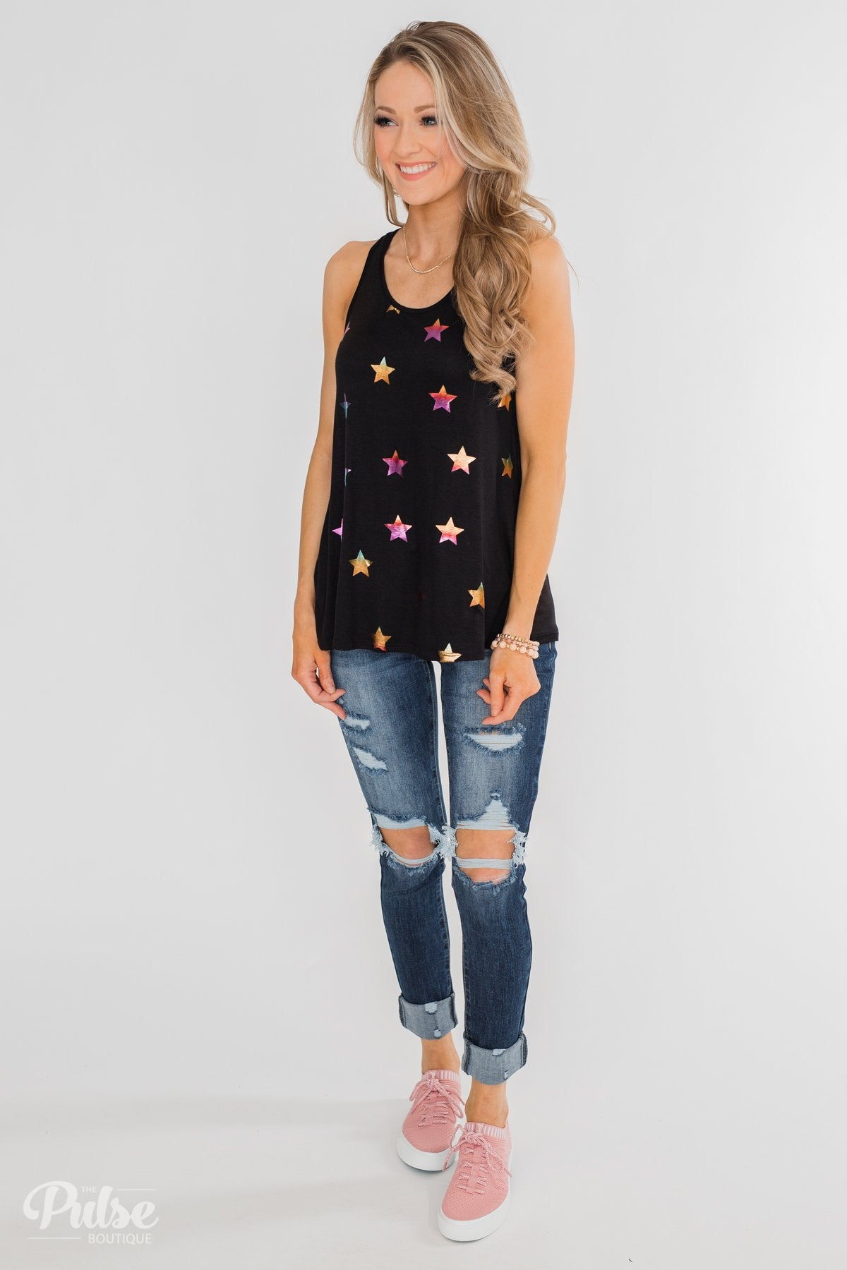 Sparkle For You Star Racerback Tank Top- Black