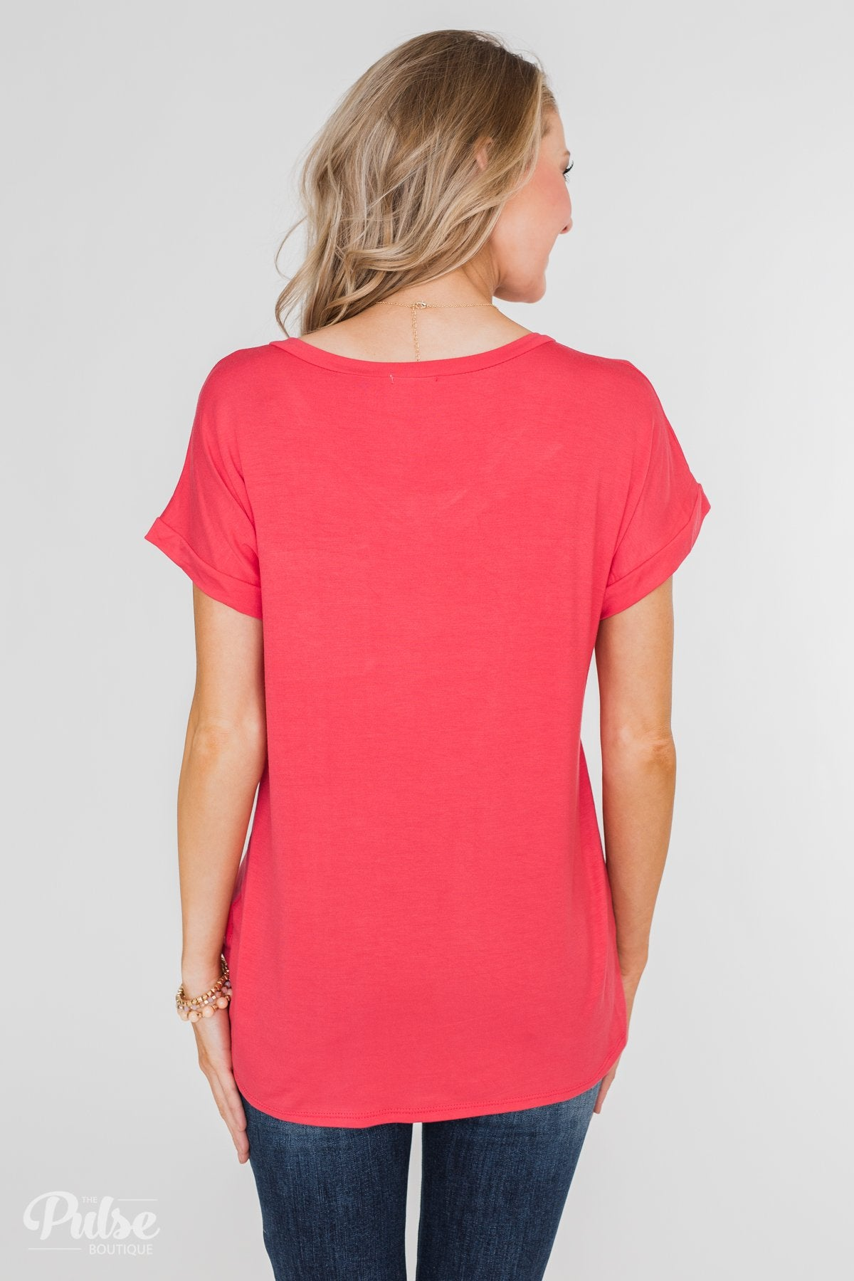 Solid V-Neck Pocket Top- Strawberry Pink