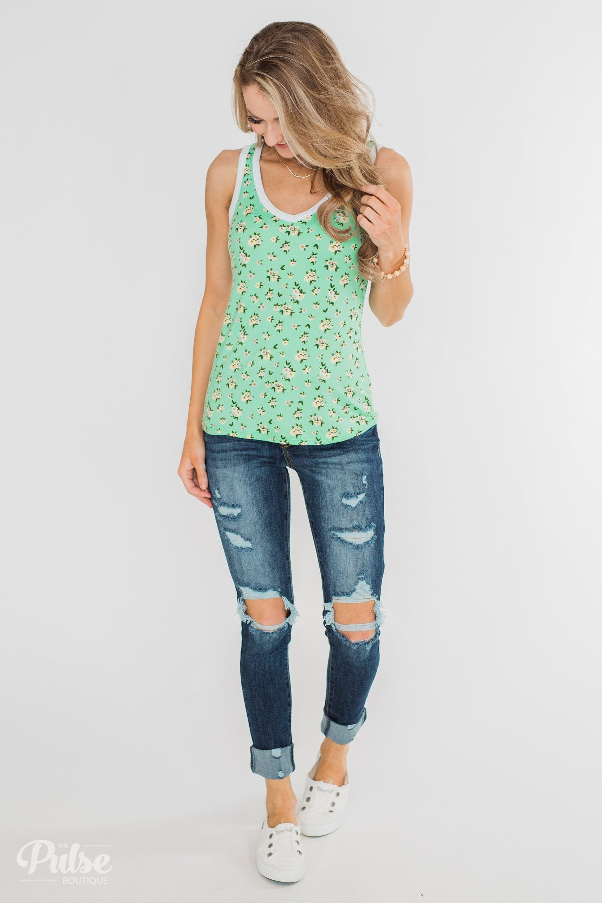 Walk Through The Wildflowers V-Neck Tank Top- Mint Blue
