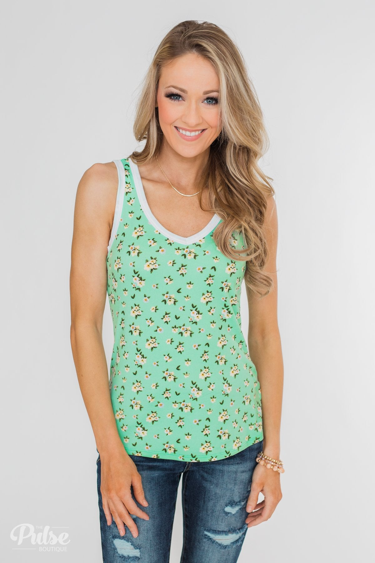 9c5afbef5628c0 Walk Through The Wildflowers V-Neck Tank Top- Mint Blue – The Pulse ...