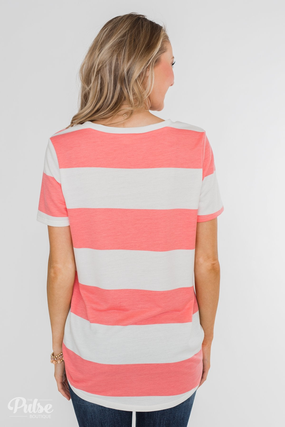Hello to You Wide Stripe V-Neck Top- Coral