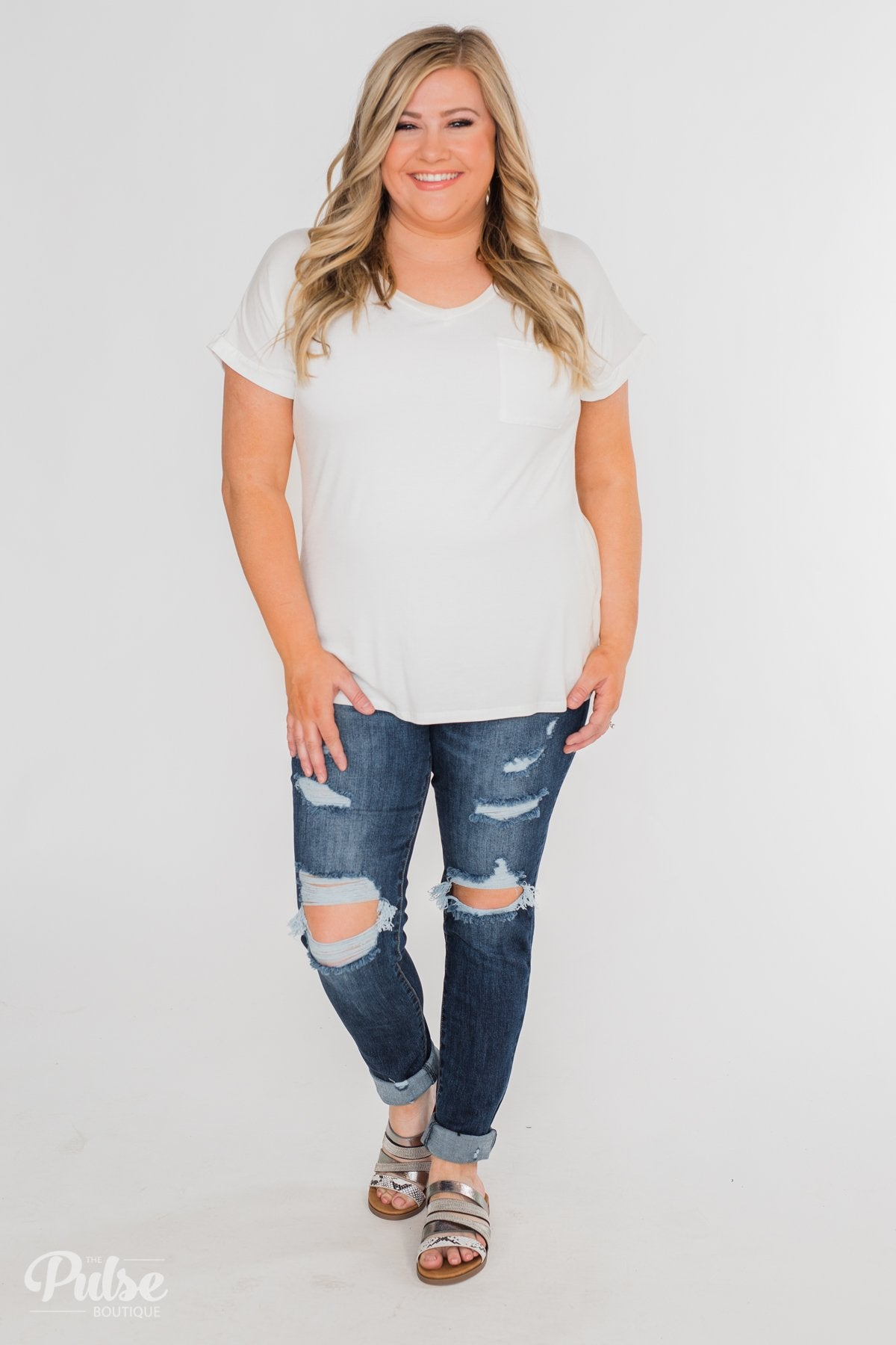 Solid V-Neck Pocket Top- Ivory
