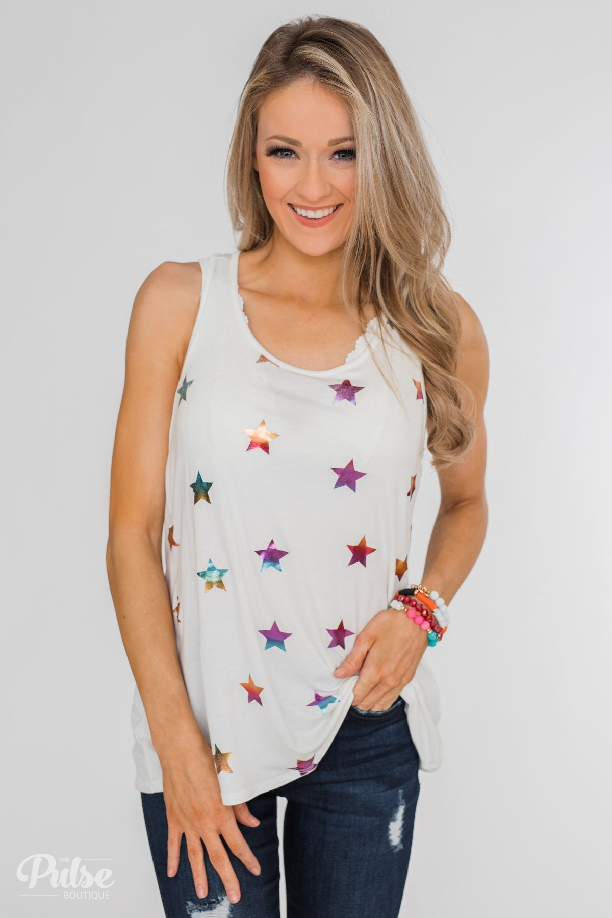 Sparkle For You Star Racerback Tank Top- Ivory