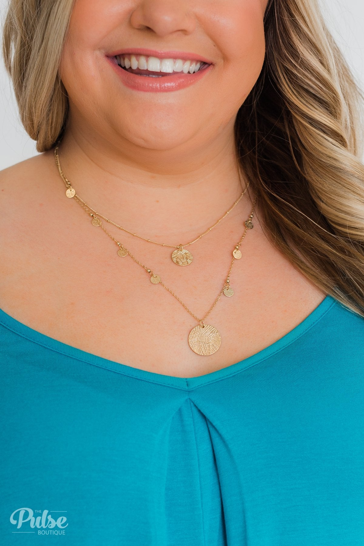 Double Layer Circle Necklace- Gold