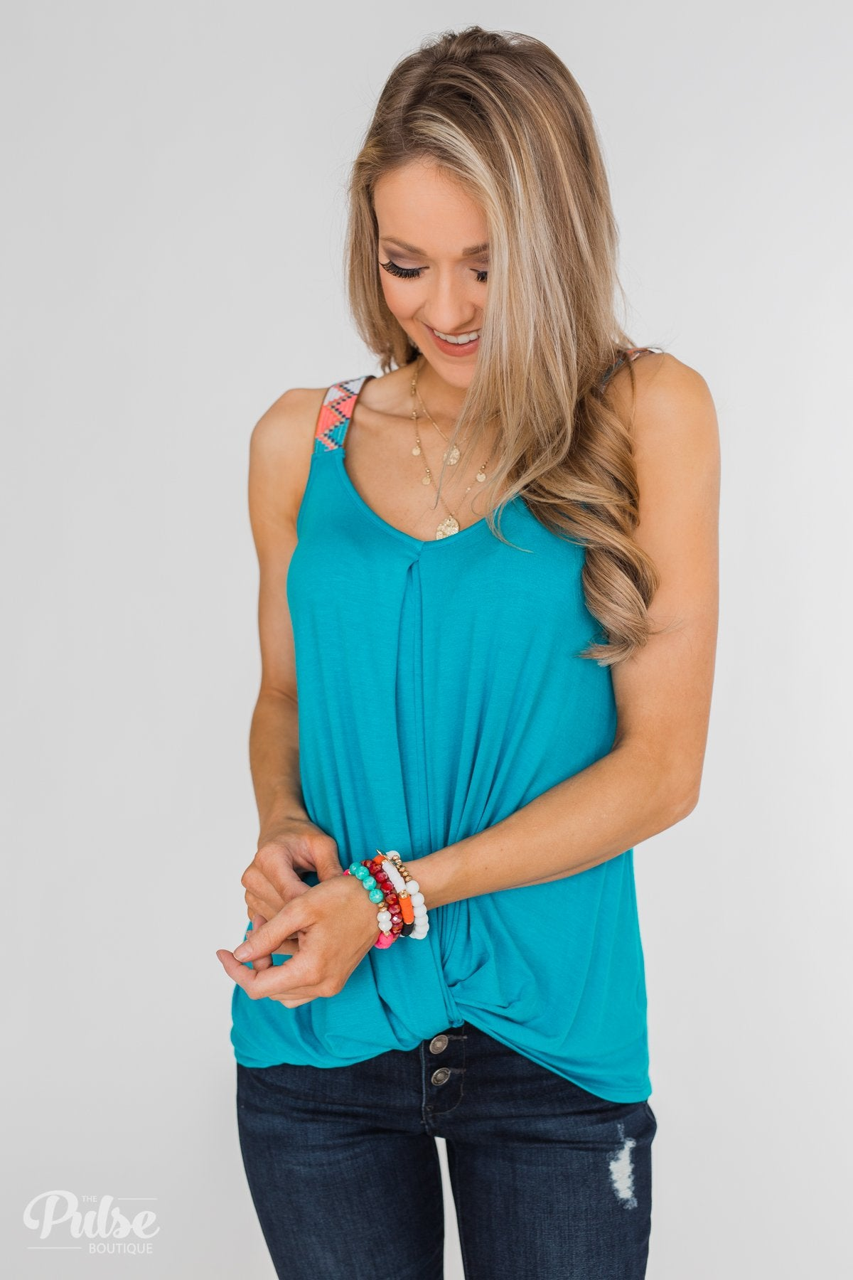 Somewhere Waiting for Me Twist Tank Top- Blue