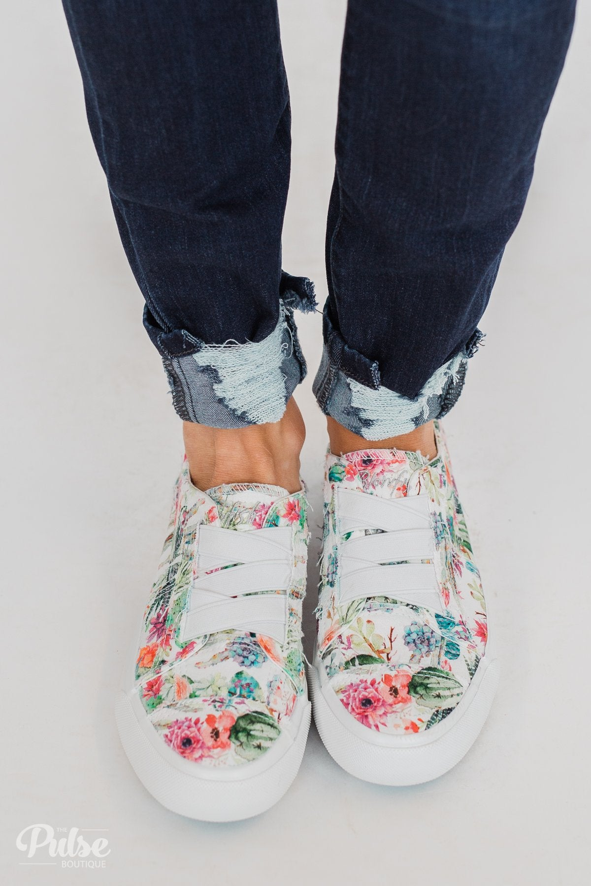 Blowfish Marley Sneakers- Off White Cactus Flower Print