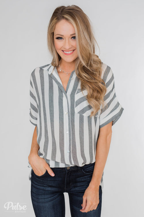 Somewhere Only We Know Striped Top- Grey & White