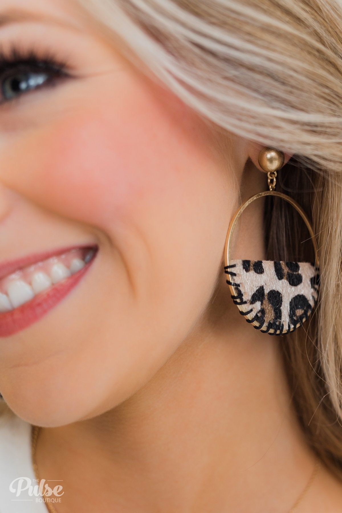 Half Circle Leopard Hoop Earrings- Gold