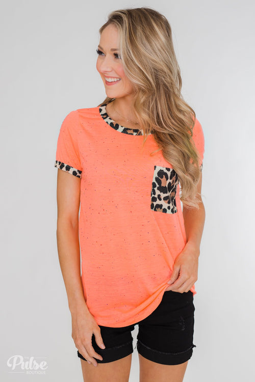 Constant Excitement Confetti & Leopard Pocket Top- Neon Orange