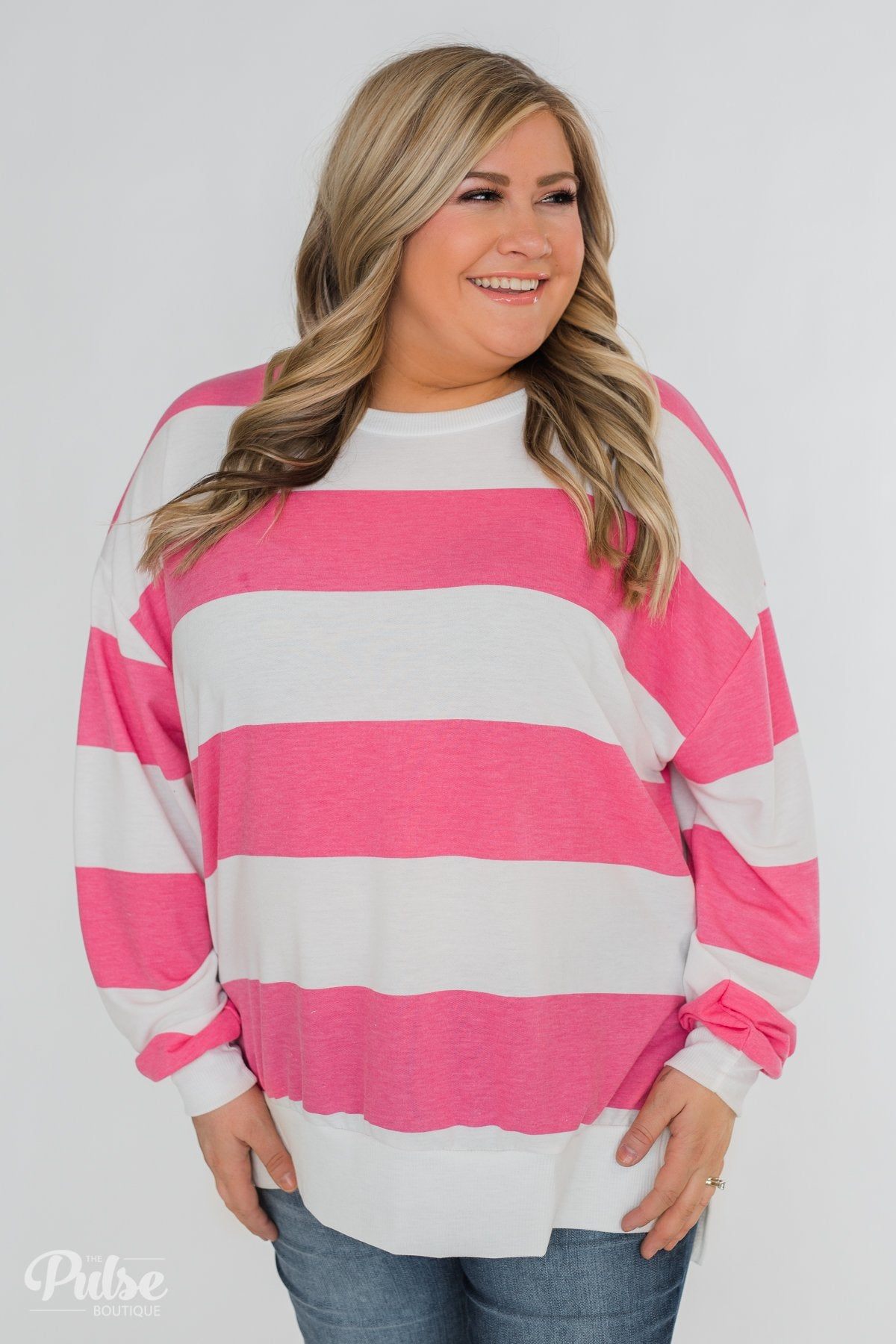 Good Day for Sunshine Striped Pullover- Pink & Off White