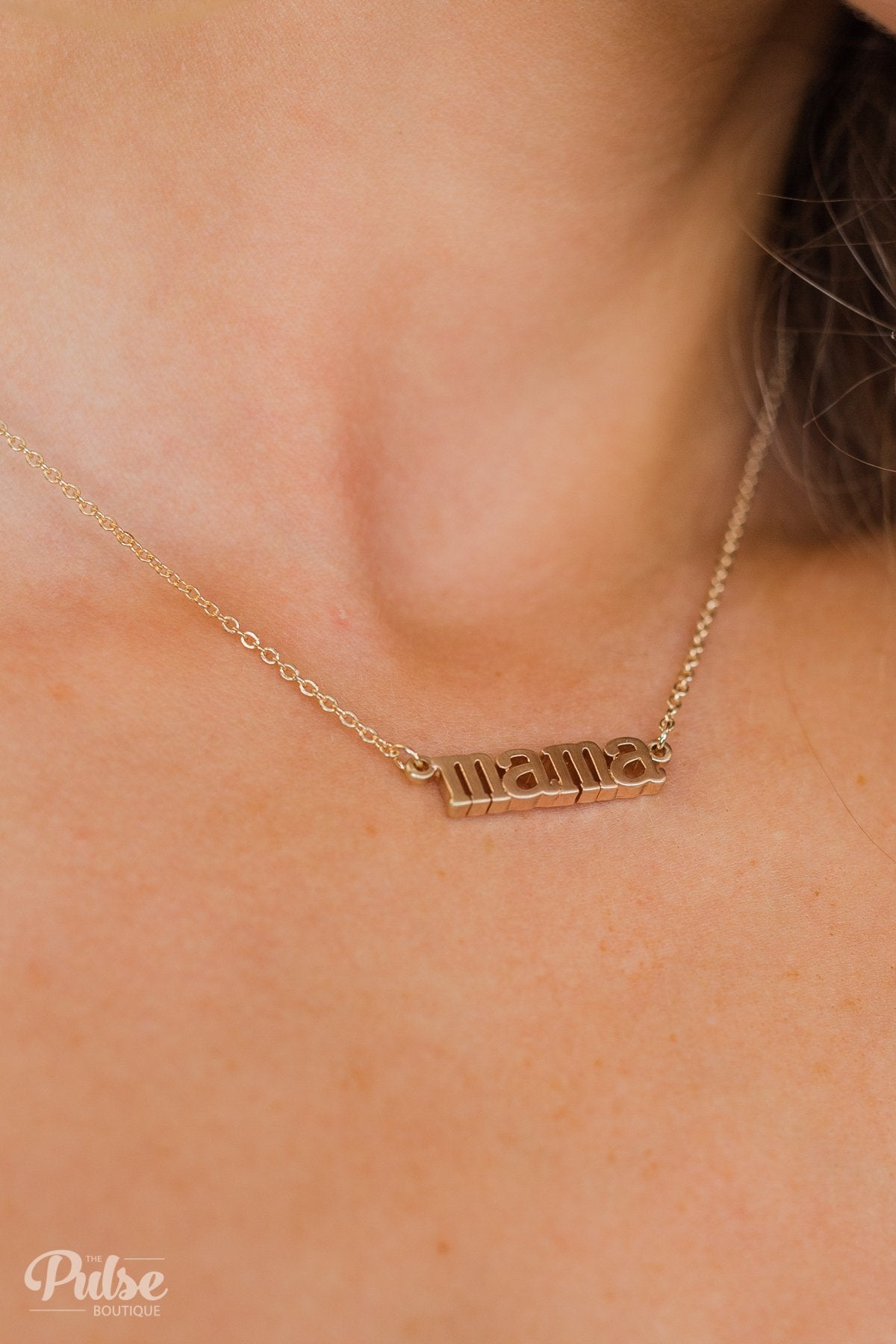 """Mama"" Chain Necklace- Gold"