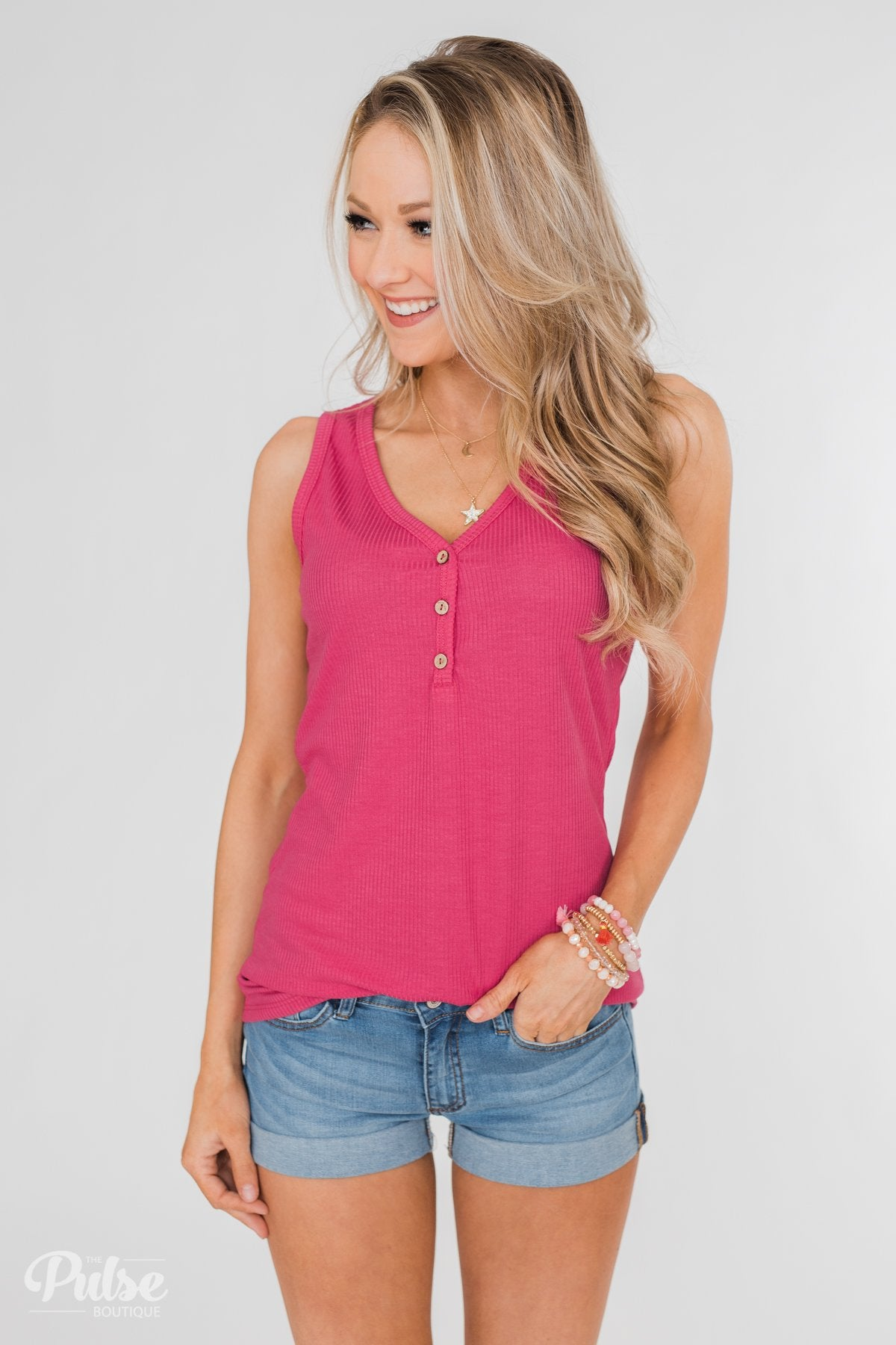 Button Henley Tank Top- Fuschia