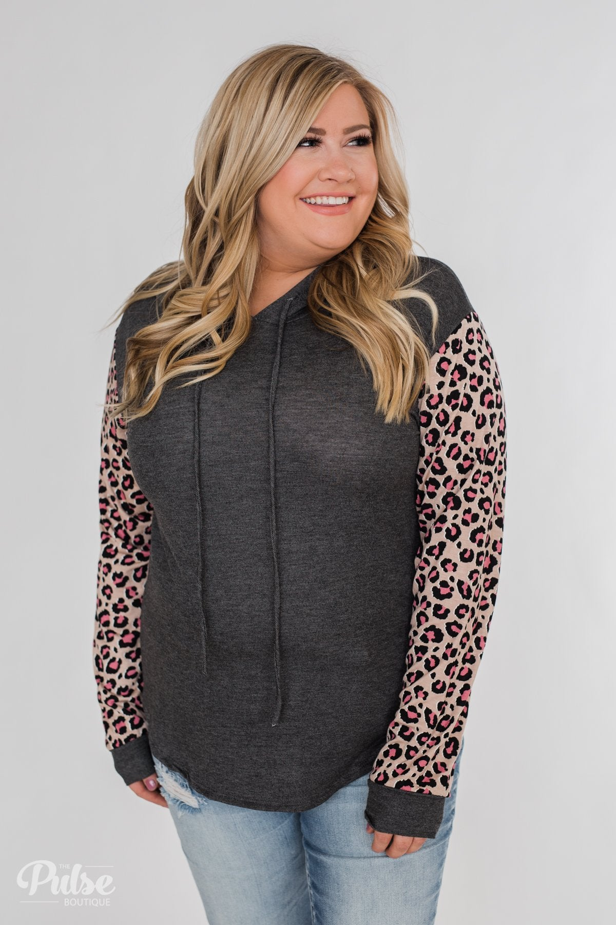 Lightweight Leopard Sleeve Hoodie- Charcoal & Light Mocha