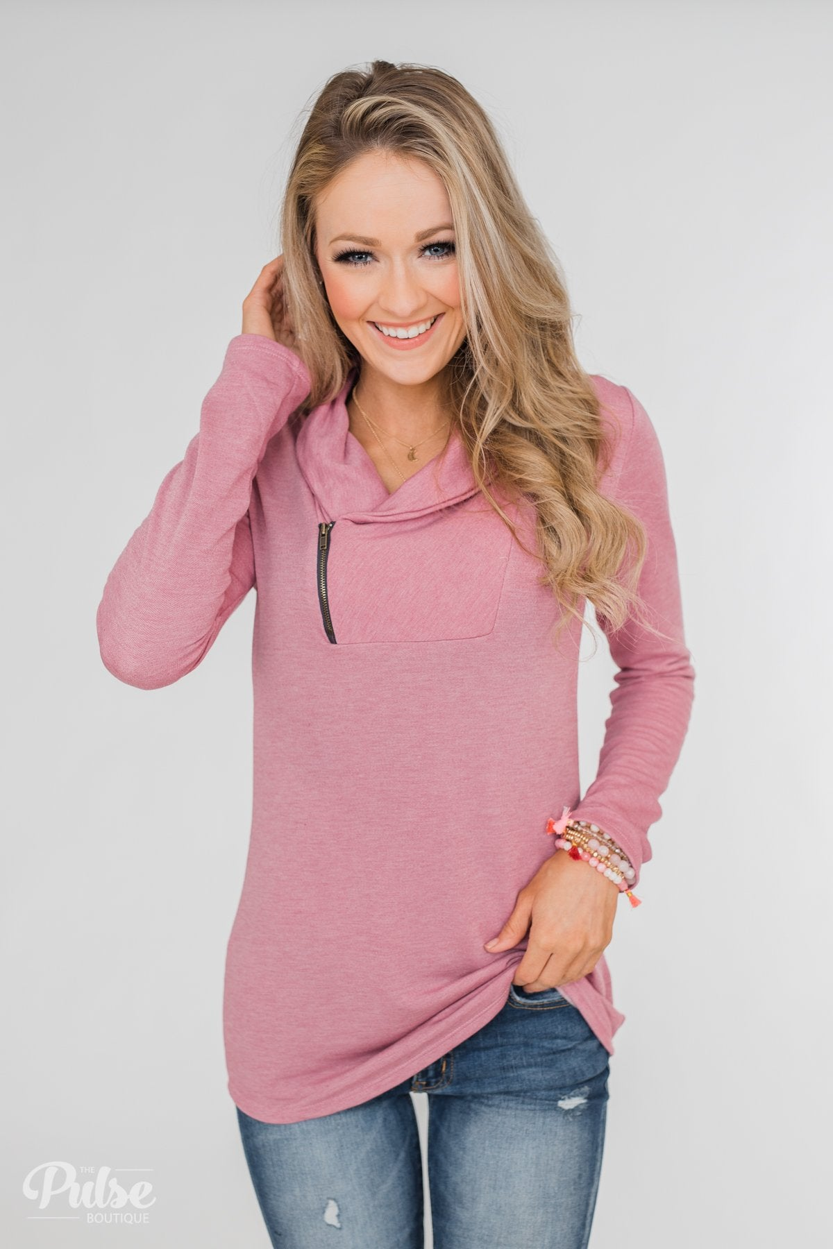 Give Me Time Zipper Pullover Top- Orchid