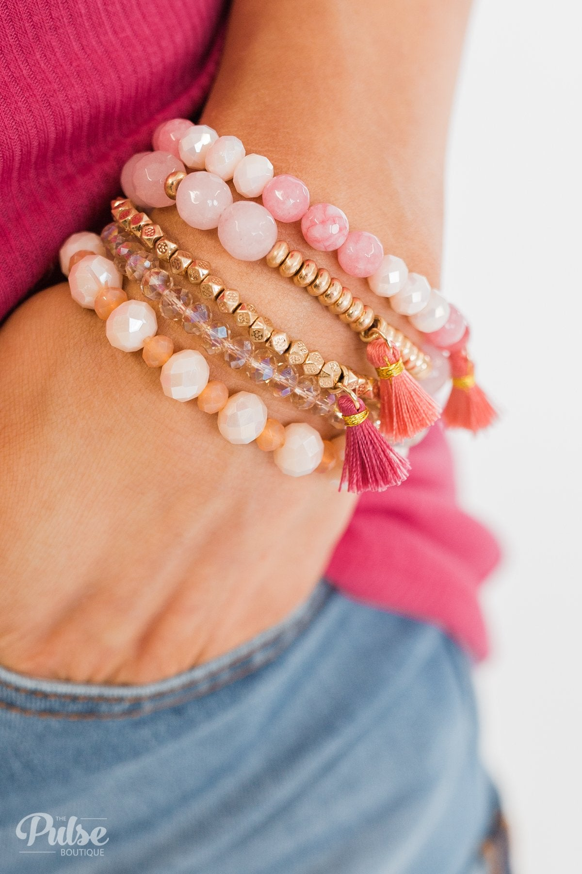 Tassels & Beads Bracelet Set- Pink & Gold
