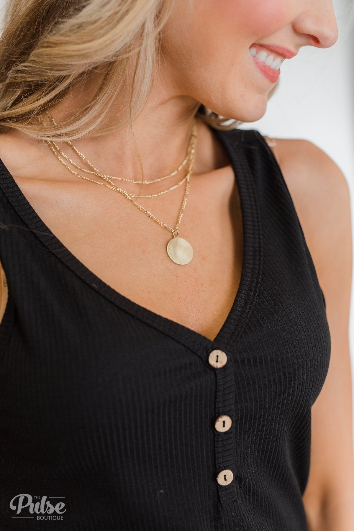 3 Tier Circle Necklace- Gold
