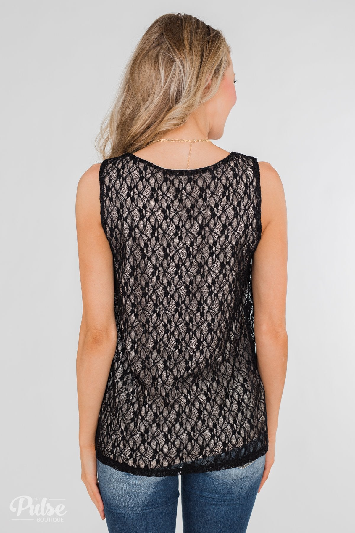 Show It Off Criss-Cross Lace Tank- Black