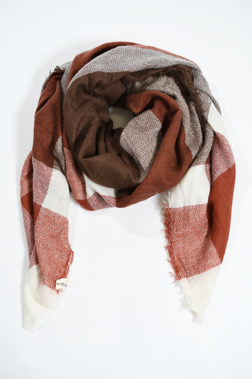 Blanket Scarf - Maroon & Brown
