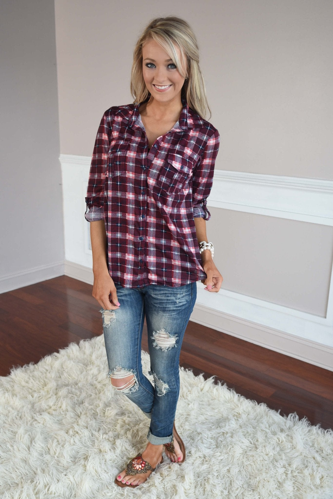 Maroon & Pink Button Up Top