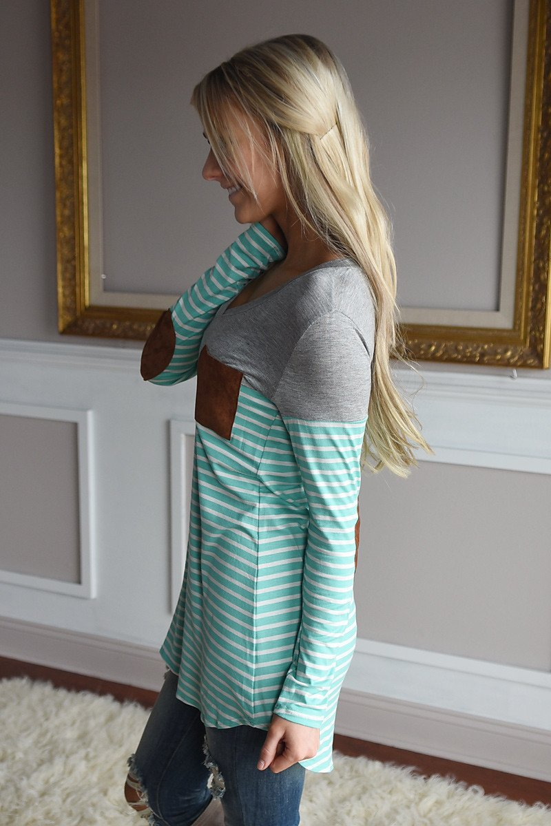 Mint Striped Elbow Patch Top