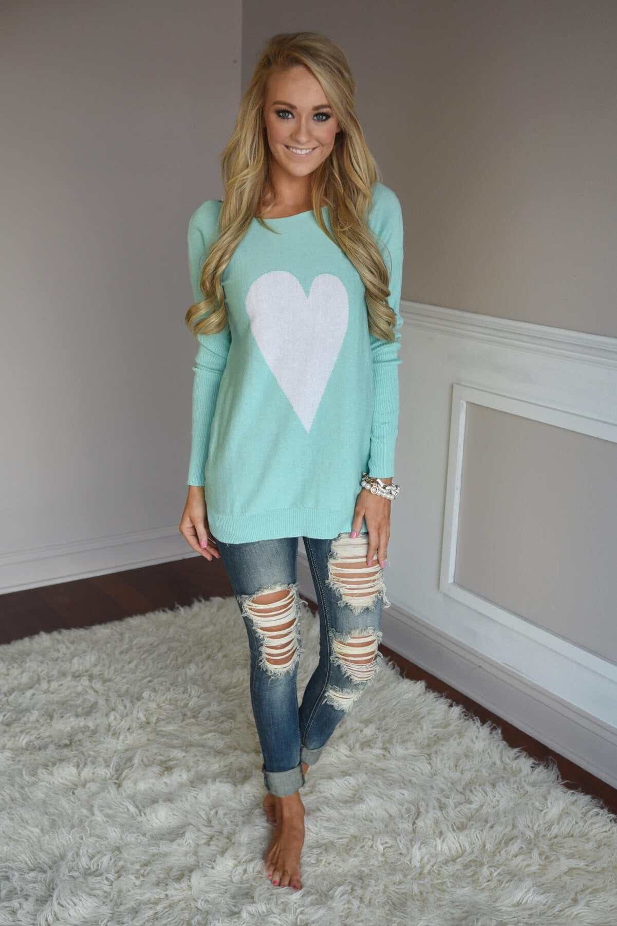 Mint Heart Top