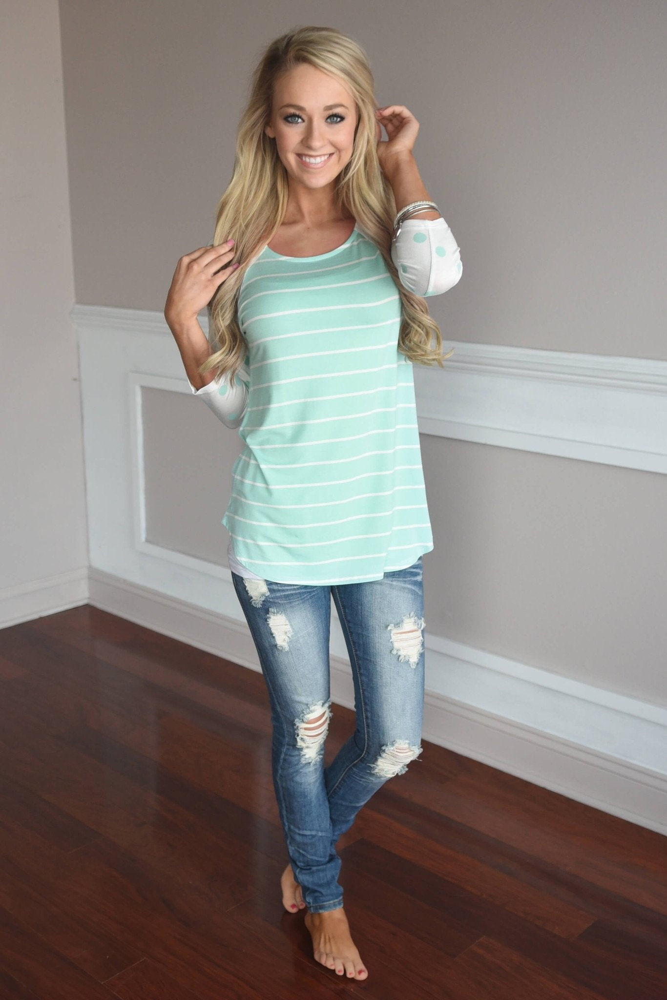Mint Polka Dot & Stripes Top