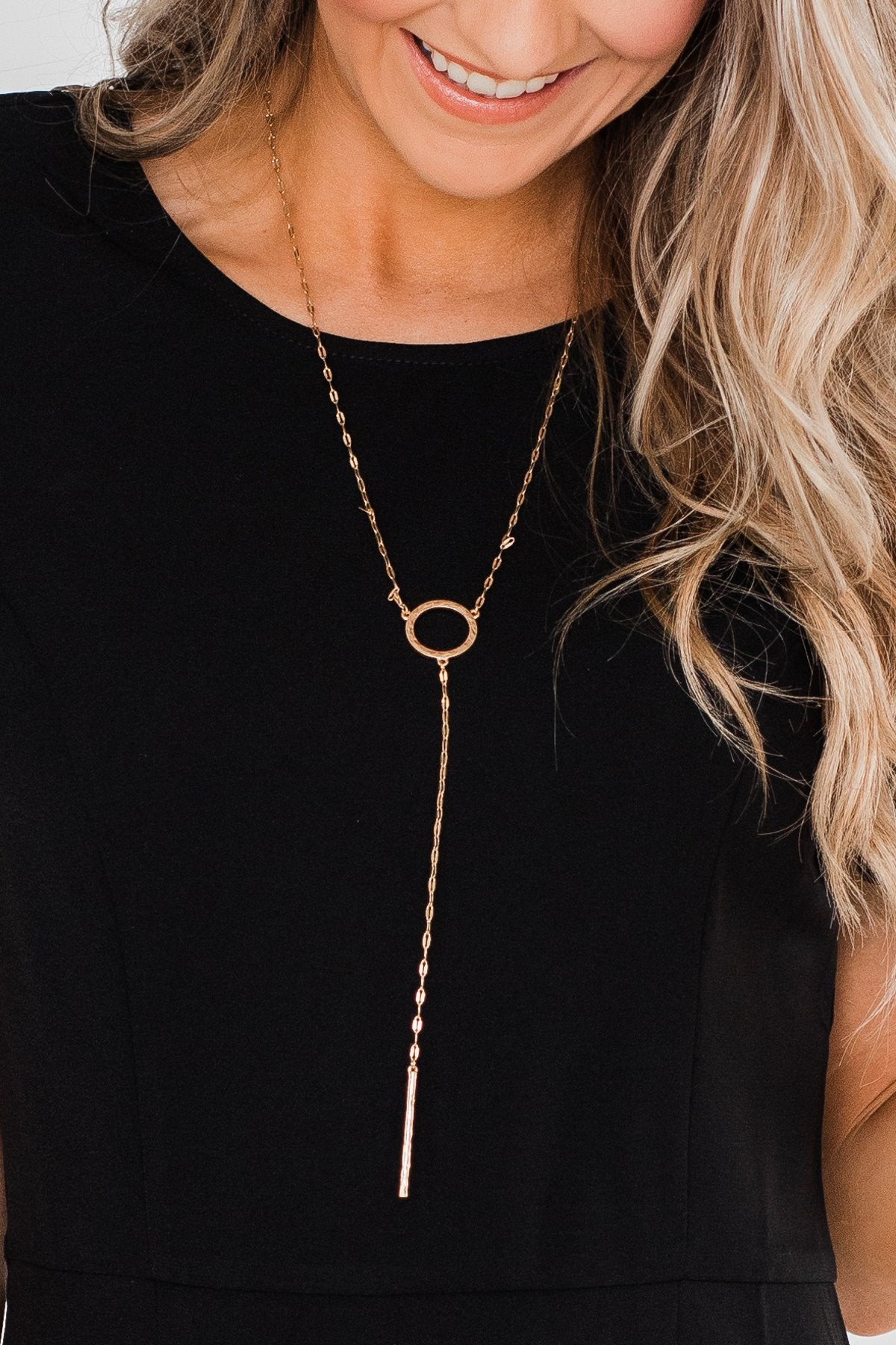 Long Circle & Bar Necklace- Gold