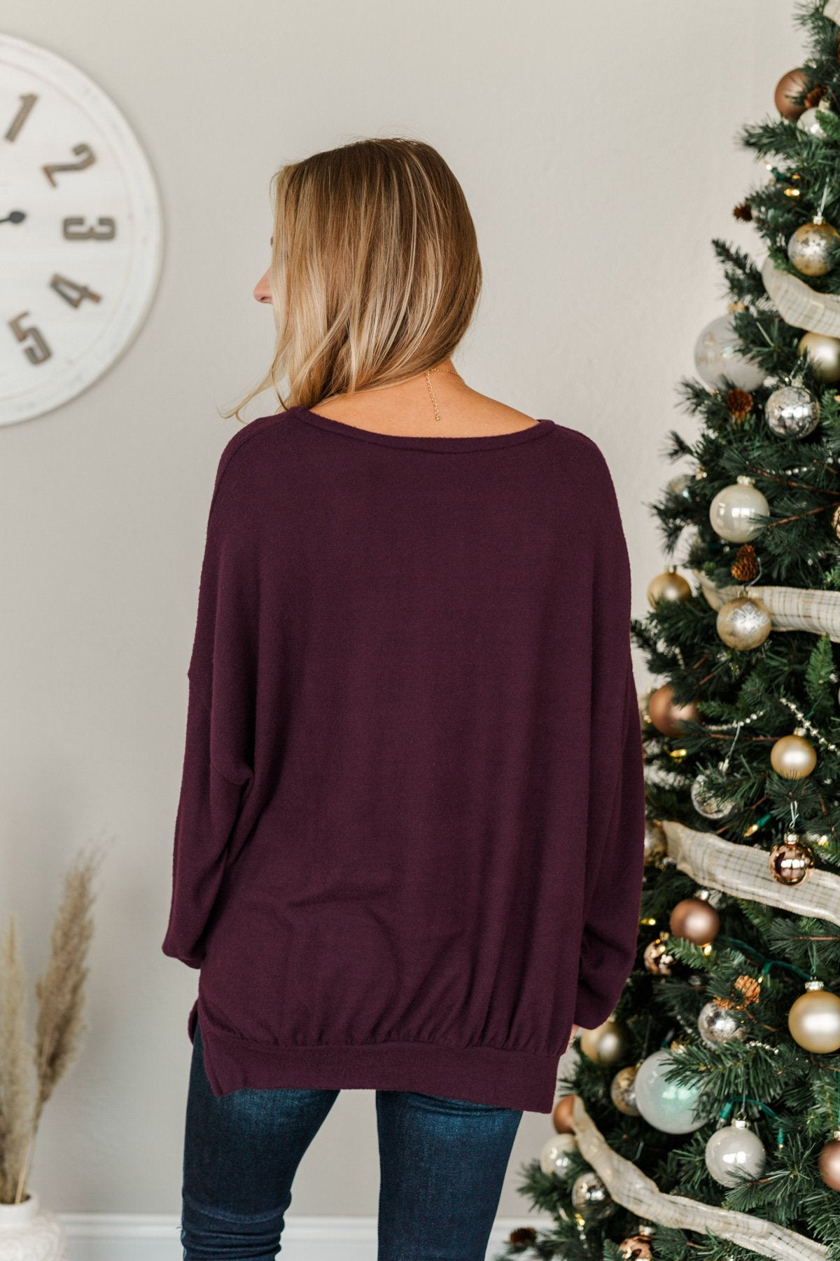 Dreaming Of The Day Oversized Pullover Top- Plum