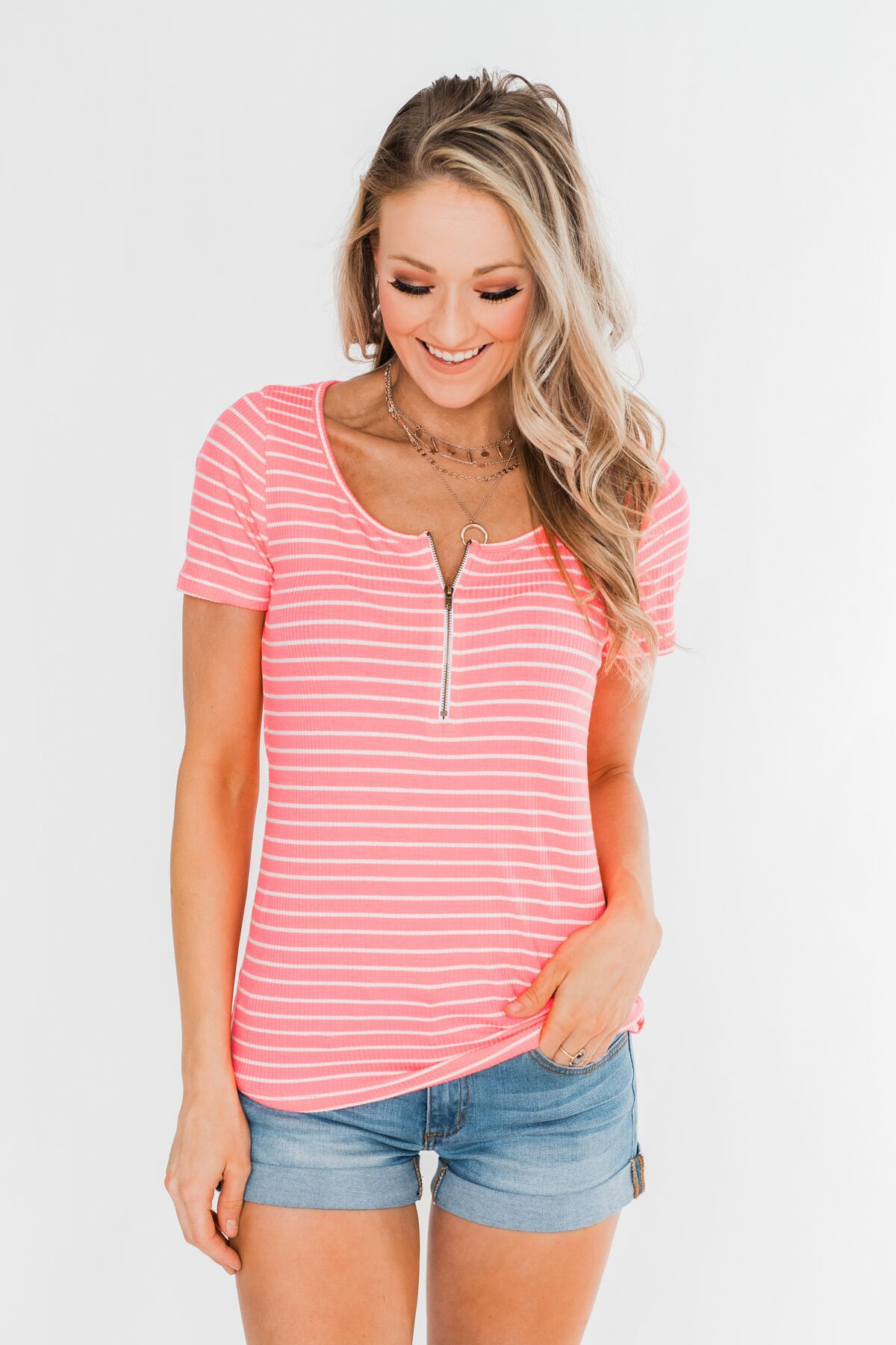 Short Sleeve Neon Zipper Top- Pink