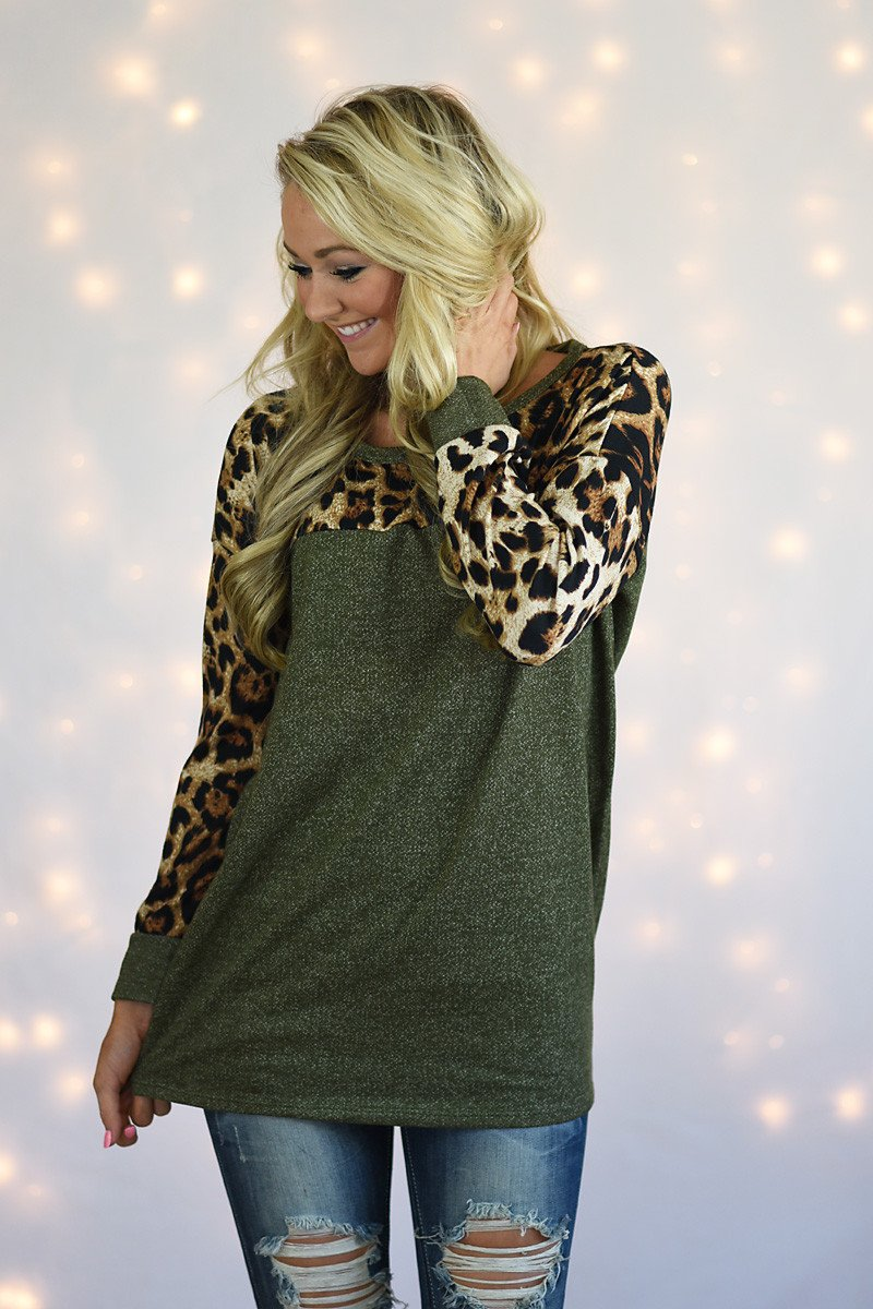 Olive Leopard Top