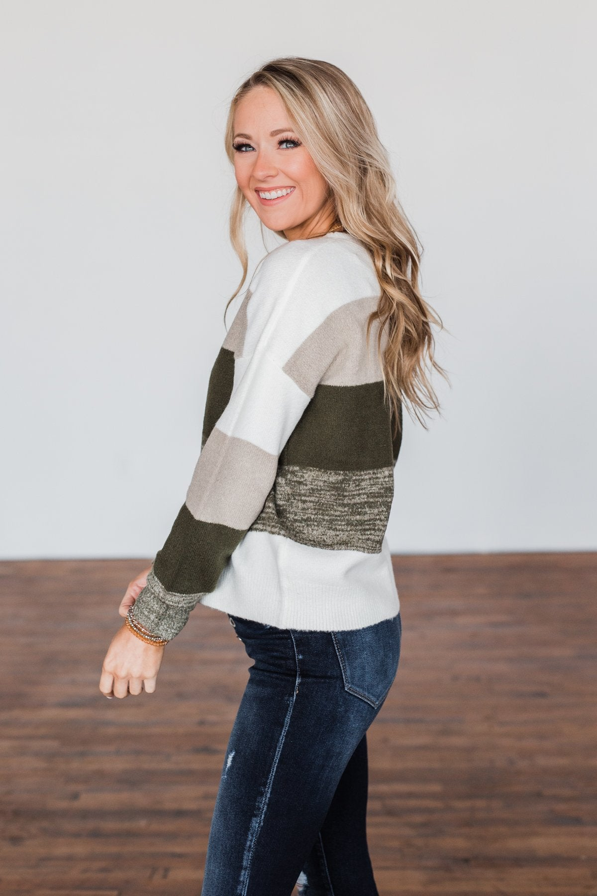Feeling My Best Color Block Sweater- Olive, Taupe, & Ivory