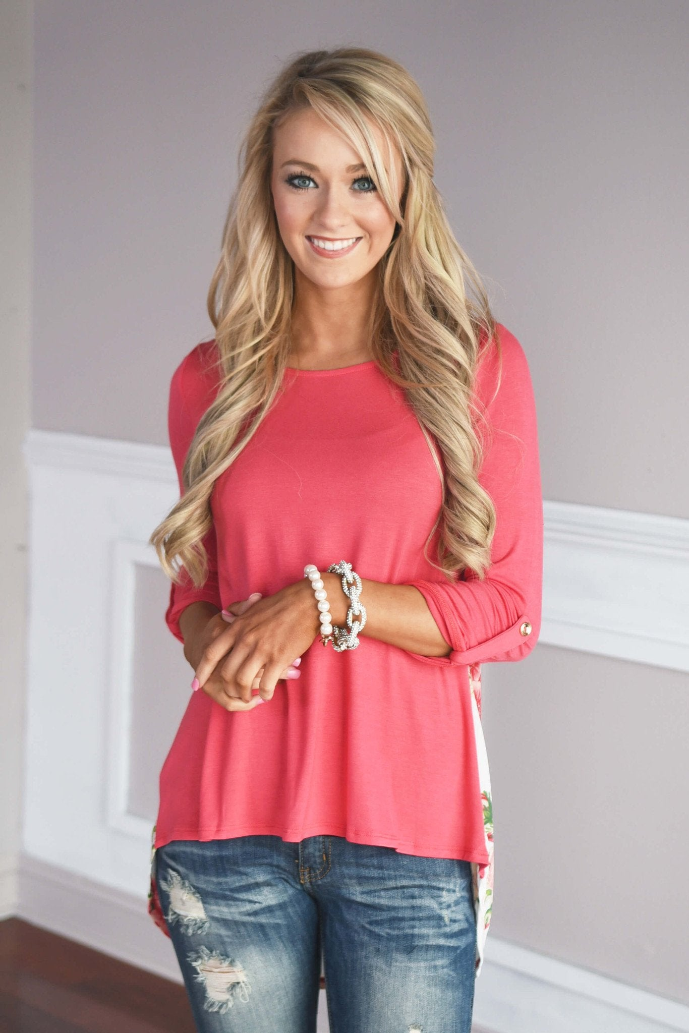 Passion Flower Top ~ Coral