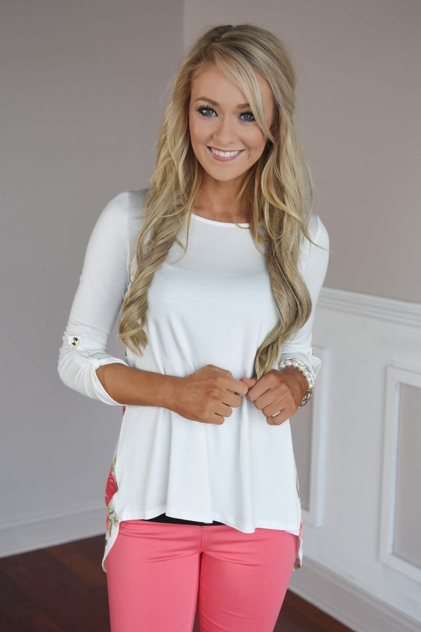 Passion Flower Top ~ Ivory