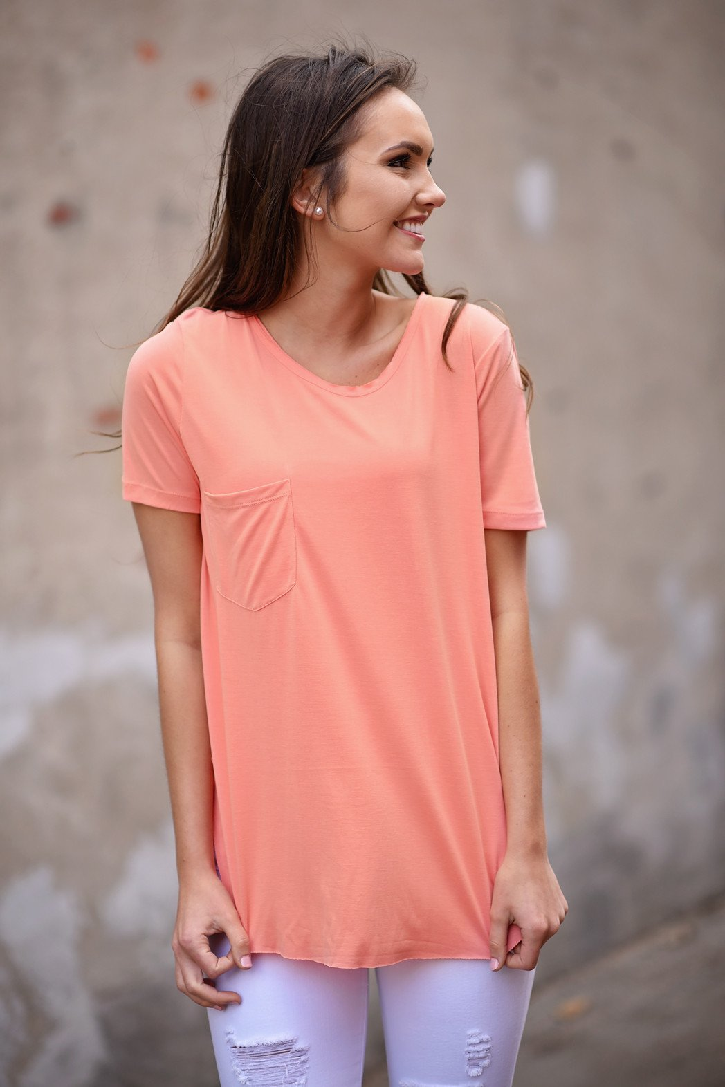 Peach Short Sleeve Top